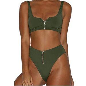 Swim - SOLD — High waisted Zip Up Bikini